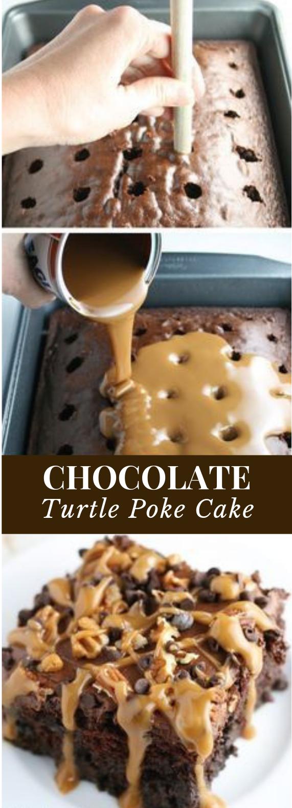 CHOCOLATE TURTLE POKE CAKE #pokecake #chocolate