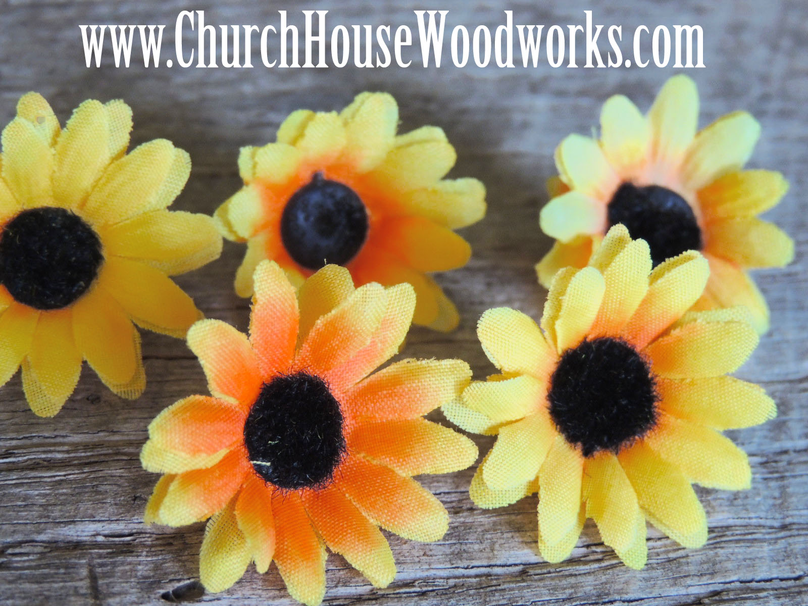Rustic 4 weddings 100 sunflower artificial flower heads for Flower heads for crafts