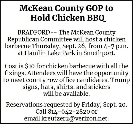 9-26 McKean Co. GOP Chicken BBQ, Smethport, PA