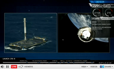 left: rocket on barge; right: second stage separating from Dragon