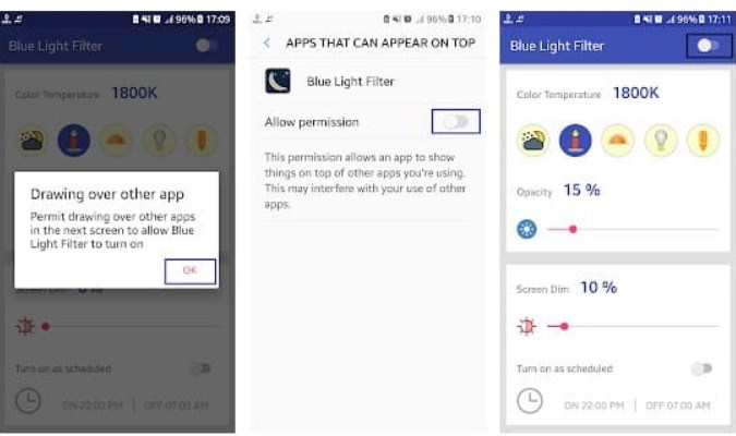 Aplikasi Filter Sinar Biru untuk Android - Night Reading Mode