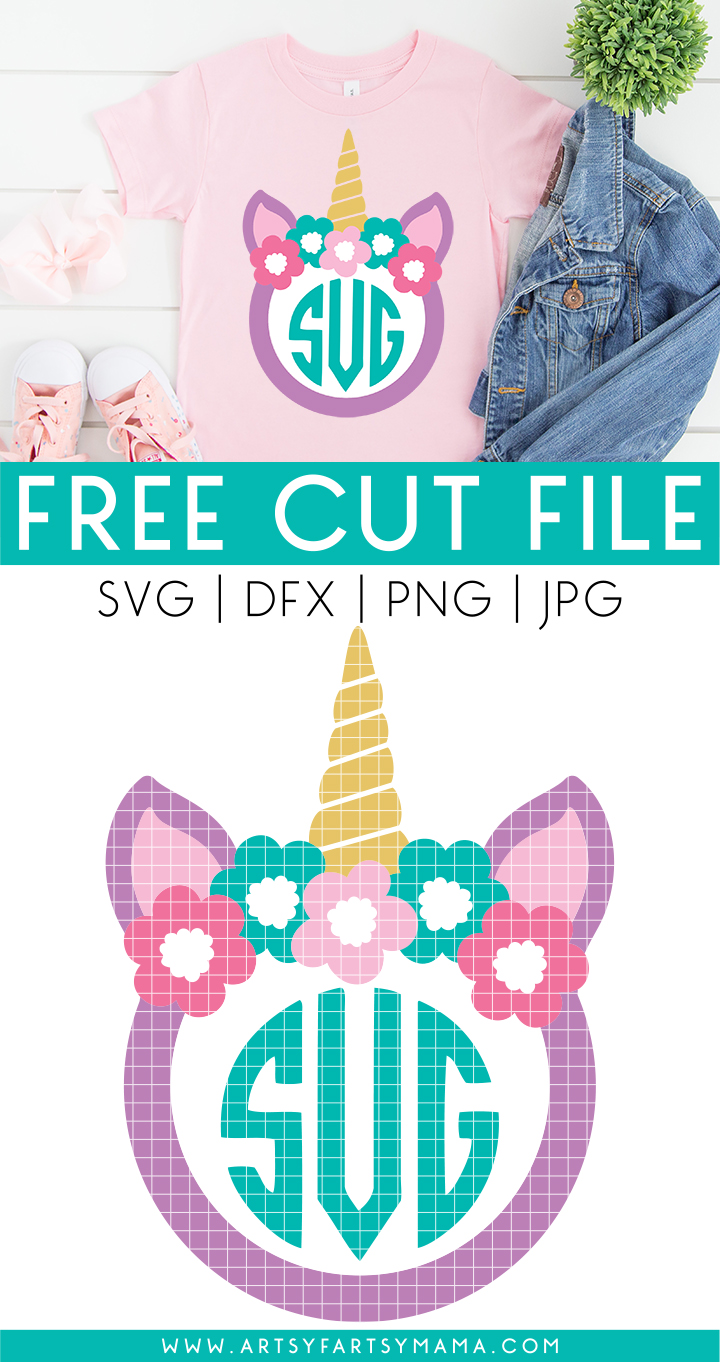 Unicorn Monogram Free Cut File