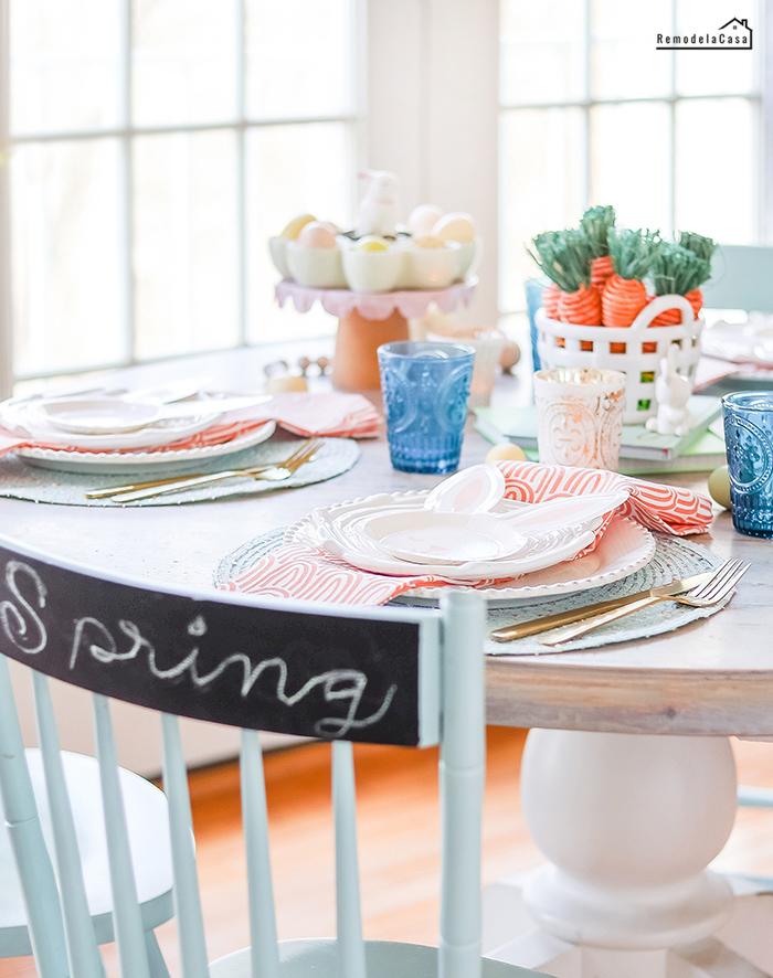 Aqua and orange Easter table