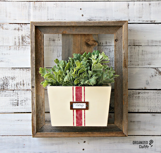 Thrifted Barn Wood Frame & Wall Bin Repurposed As A Wall Pocket