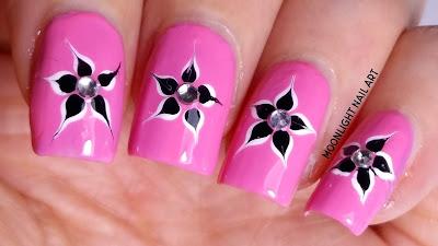 Easy Flower Drag marble Nail Art