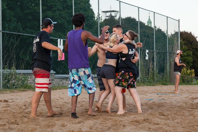 Reuben's staff celebrate a winning game at SERVE 2018