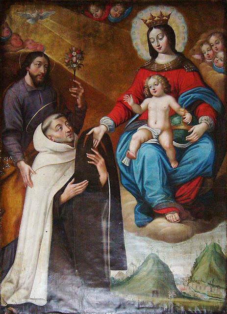 Nossa Senhora dá o escapulário do Carmo a São Simão Stock. Anônimo, Sainte Marie-aux-Mines, França.