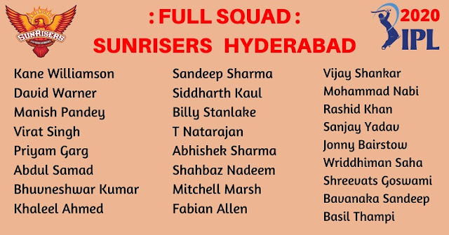 IPL 2020 Team player list - Full squad of Sunrisers Hyderabad (SRH)