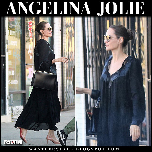 Angelina Jolie in black dress and tan patent pumps christian louboutin street style august 17