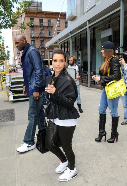 BOUJEE GIRL : KIM K and KANYE spotted wearing Jordans:)