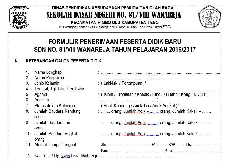 Download Formulir Penerimaan Siswa Baru Psb Terbaru Haryoto Berbagi
