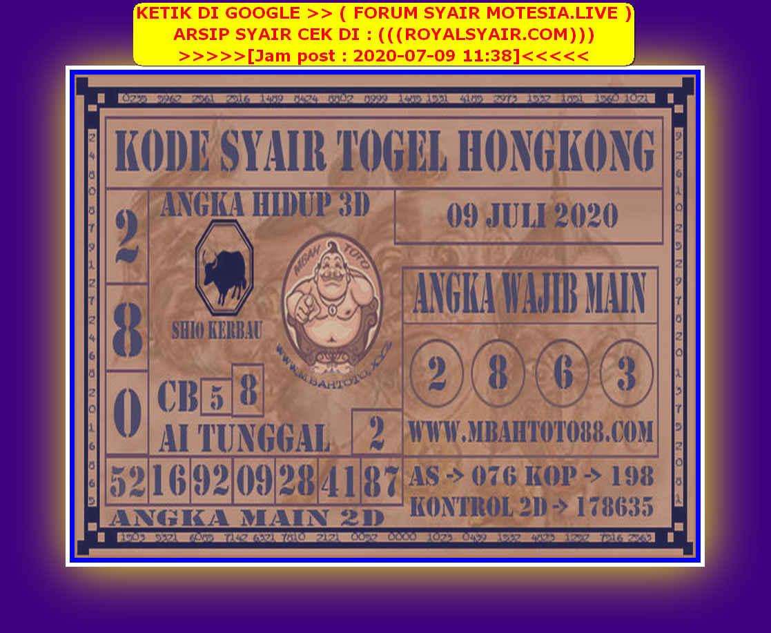 Kode syair Hongkong Kamis 9 Juli 2020 250