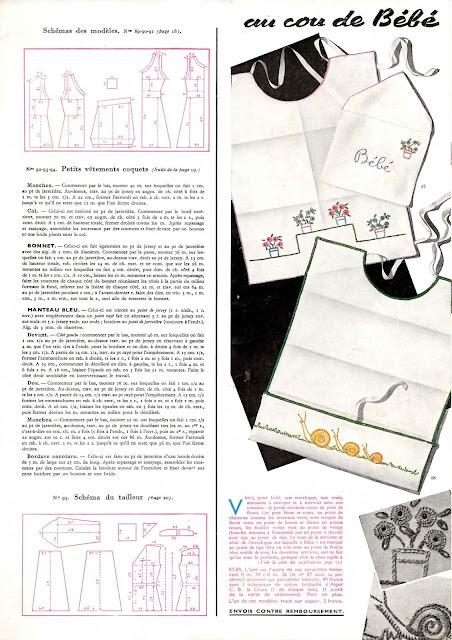 magazine mode et travaux octobre 1942 des bavoirs pour bébés