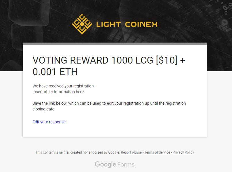 Airdrop Token LCG coin sàn Light Coinex - Promotion vote nhận miễn phí 1000LCG 5