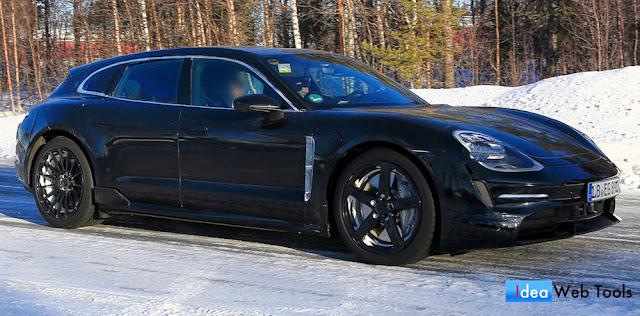 ポルシェの未発表の新型「タイカン・スポーツツーリスモ」のプロトタイプが雪に突っ込む。
