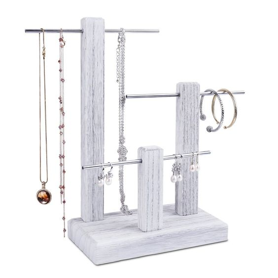 #WD1303-G 3-Tiers Wooden Silver Aluminum Poles Jewelry Display Stand