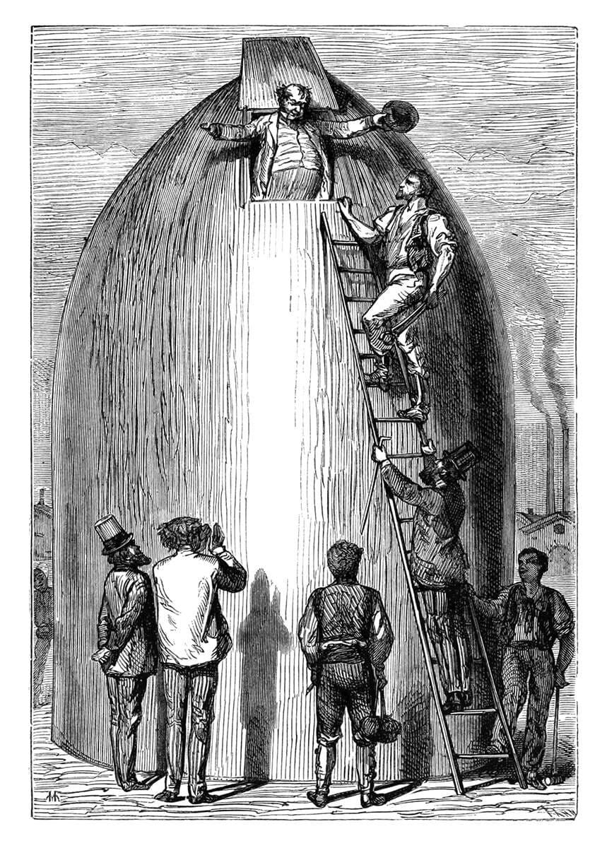 Grabado de De la Tierra a la Luna, por Henri de Montaut
