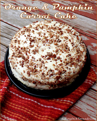 Orange and Pumpkin Carrot Cake is a classic moist fall cake with added orange and pumpkin flavors. | Recipe developed by www. BakingInATornado.com | #recipe #cake