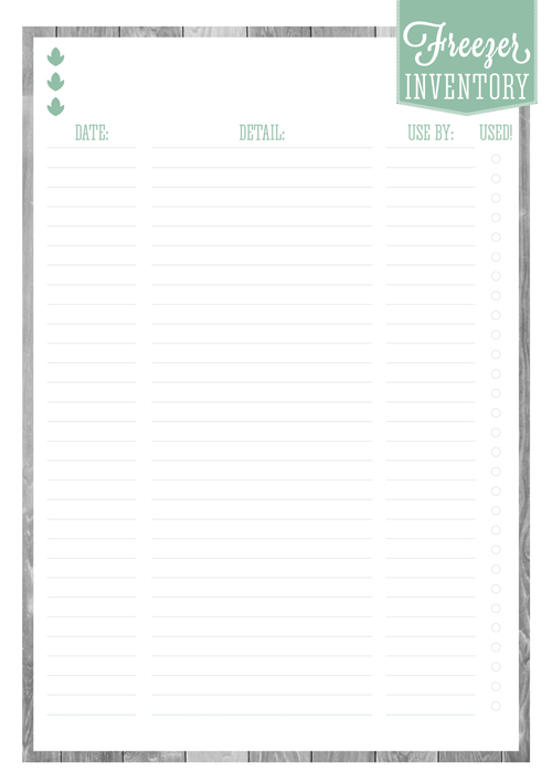 Free Printable Home Organizer - Freezer Inventory