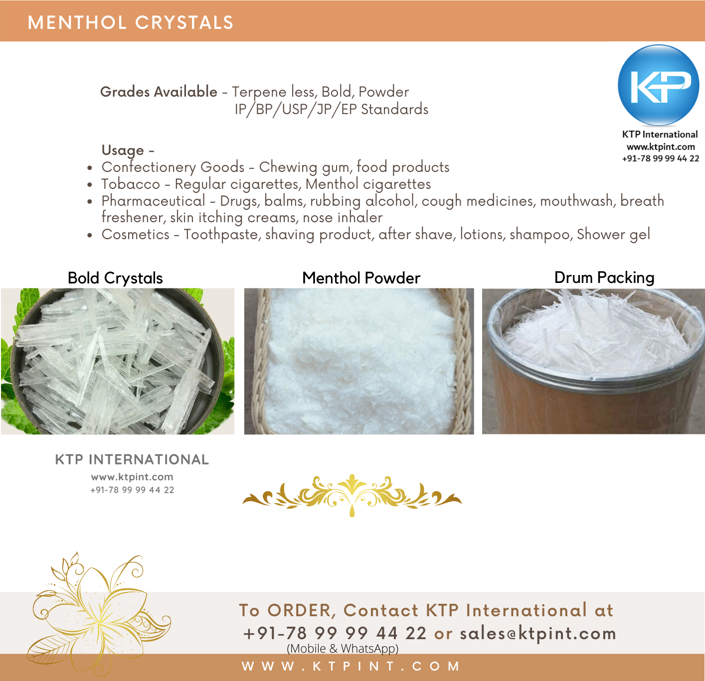 Buy, Purchase, Menthol Crystals, Bold menthol crystals, Terpeneless, Menthol Crystals powder, India, Bangalore, Gujarat