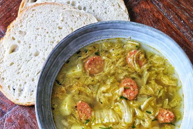 Potato, Chinese Cabbage and Chorizo Soup
