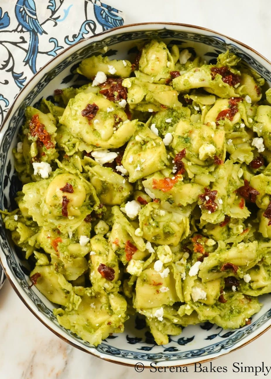 Tortellini Pesto Pasta Salad recipe with Feta is super easy to make! Delicious Pasta Salad served warm or cold and great for lunch, dinner or side dish from Serena Bakes Simply From Scratch.