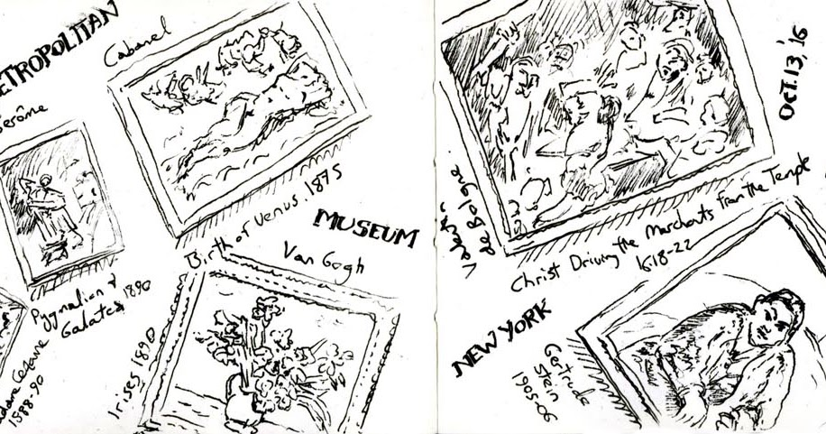 Dave Huggard Drawings: New York 4: Met and Central Park
