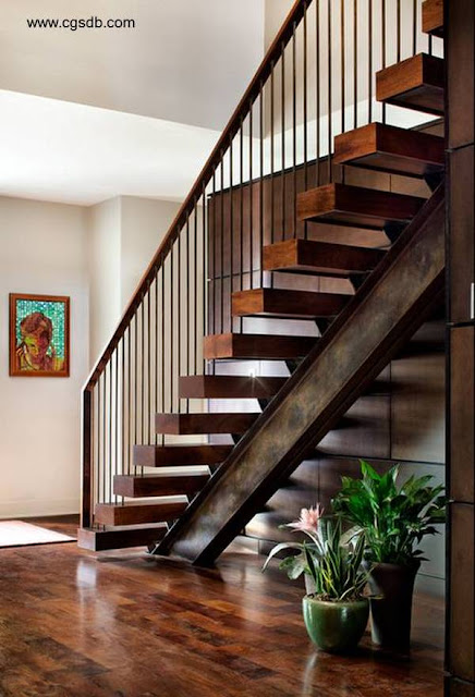 Escalera contemporánea con estructura rústica de metal