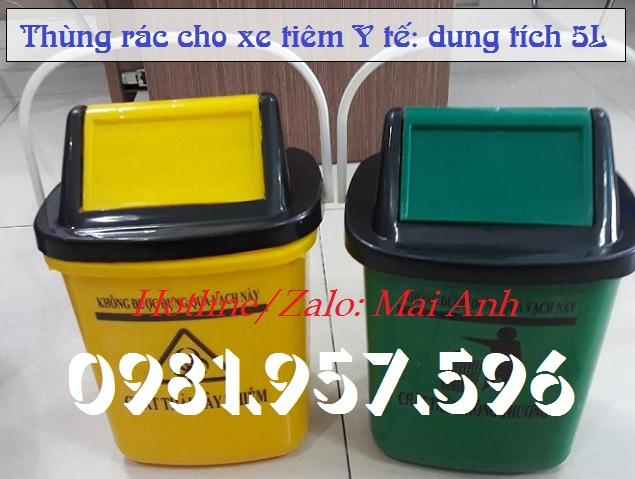 Thùng rác Y tế 5L, thùng rác bập bênh 5L, thùng rác nắp lật 5L