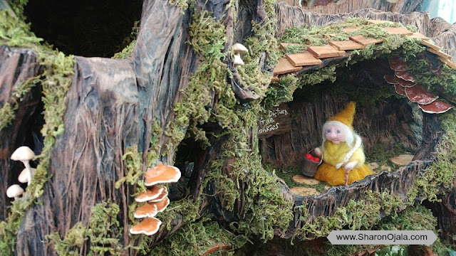 needle felt lady gnome inside tree