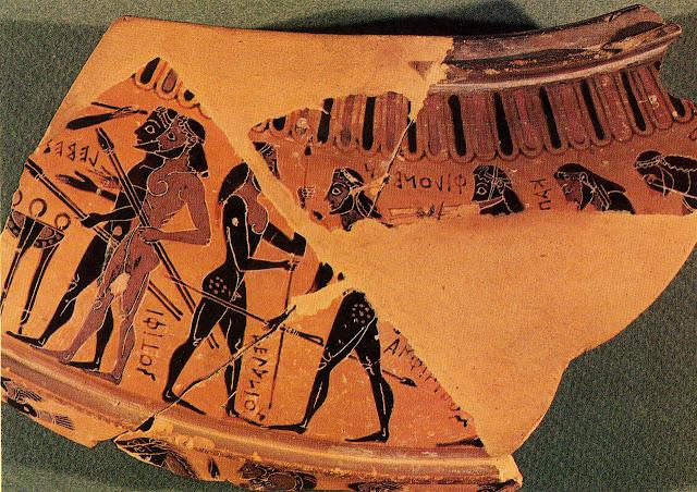 """Τα """"ἄθλα ἐπὶ Πελίᾳ"""" Θραύσμα μελανόμορφου δίνου, περίπου 580-570 π.Χ. Αγώνας ακοντισμού με τους αθλητές Ίφιτο, Μελανίωνα, Αμφιάραο, Καπανέα, Περίφα και τον αυλητή Φίλαμβο. Αθήνα, Εθνικό Αρχαιολογικό Μουσείο, 1629"""