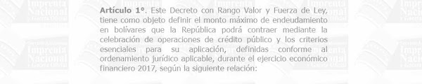 """LEASE en Gaceta oficial extraordinario Nº6.264 """" decreto de Endeudamiento para el Ejercicio Económico Financiero 2017"""""""