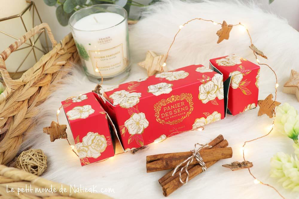 Panier des sens Noël crackers baume à lèvres et crème mains