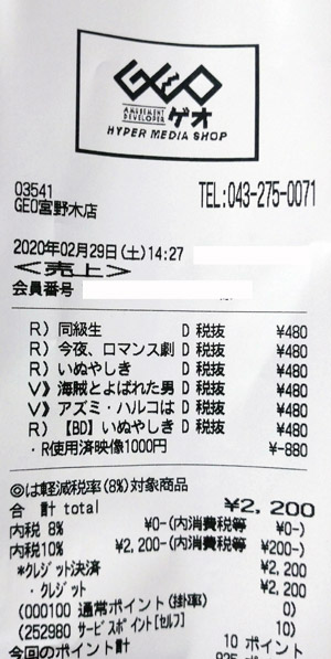 GEO ゲオ 宮野木店 2020/2/29 のレシート