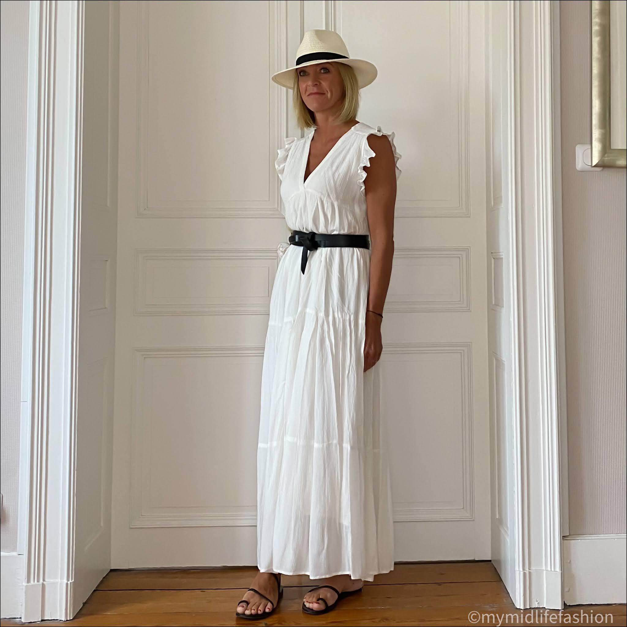 my midlife fashion, Goa maxi dress, Isabel marant leather belt, Ancient Greek black eleftheria plaited black leather sandals