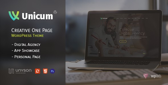 Unicum One Page Creative With RTL Support WordPress Themes