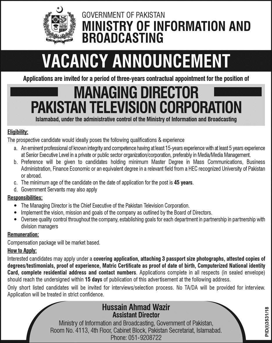Jobs in Ministry of Information & Broadcasting 2019
