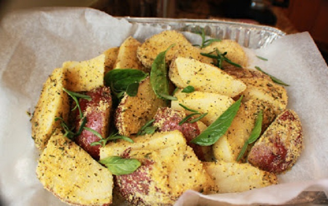 potatoes coated with herbs and cornmeal