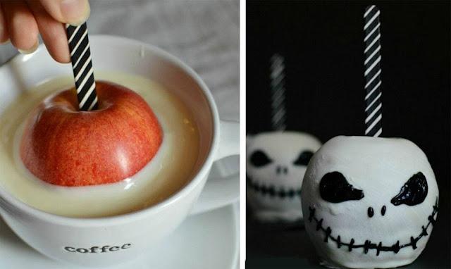 maças decoradas para festa de halloween