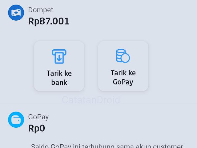Menampilkan tombol tarike gopay pribadi di aplikasi gojek driver