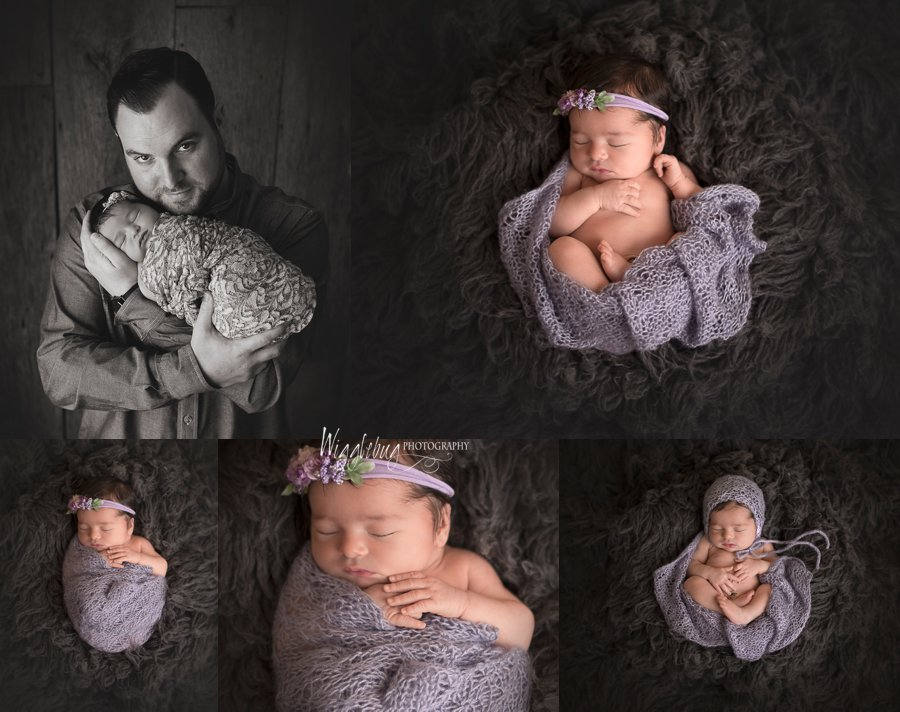 Geneva Family comes to Wigglebug Photography in DeKalb for Newborn girl session in lavender and pink