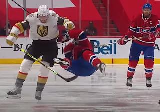 Brayden McNabb destroys Nick Suzuki, Canadiens vs Golden Knights, Game 3 NHL WCF, 6/18/2021