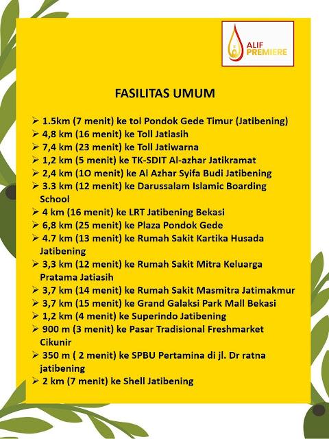 Alif Premier Jatibening Perumahan syariah dekat Tol Jatibening Bekasi