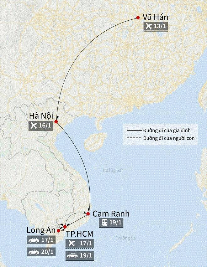 Hành trình di chuyển của hai cha con người Trung Quốc dương tính với virus corona. (Ảnh: Minh Hồng).