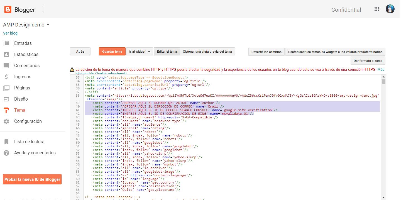 Cómo editar las meta etiquetas de las plantillas de Blogger en AMP