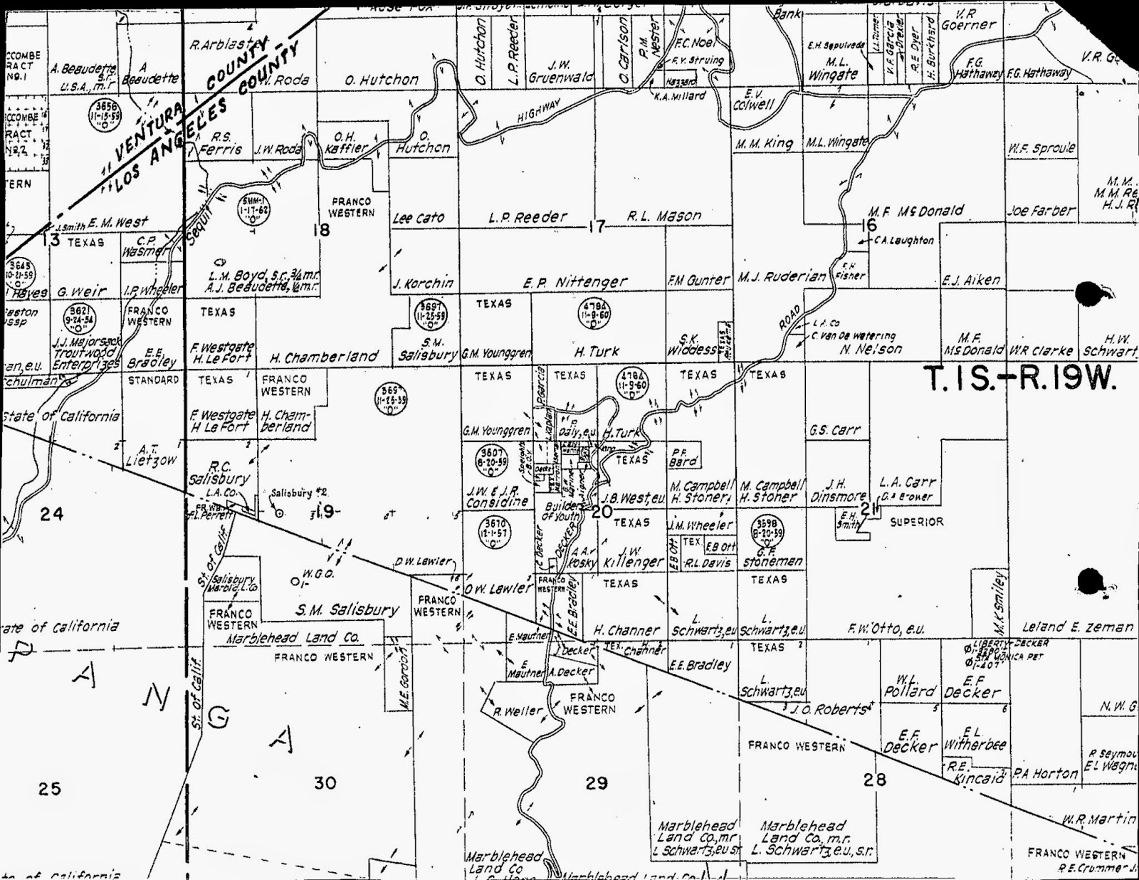 This map records oil leases on homesteads in the yerba buena and decker area it's available as part of the well record for one of the two texaco leases in