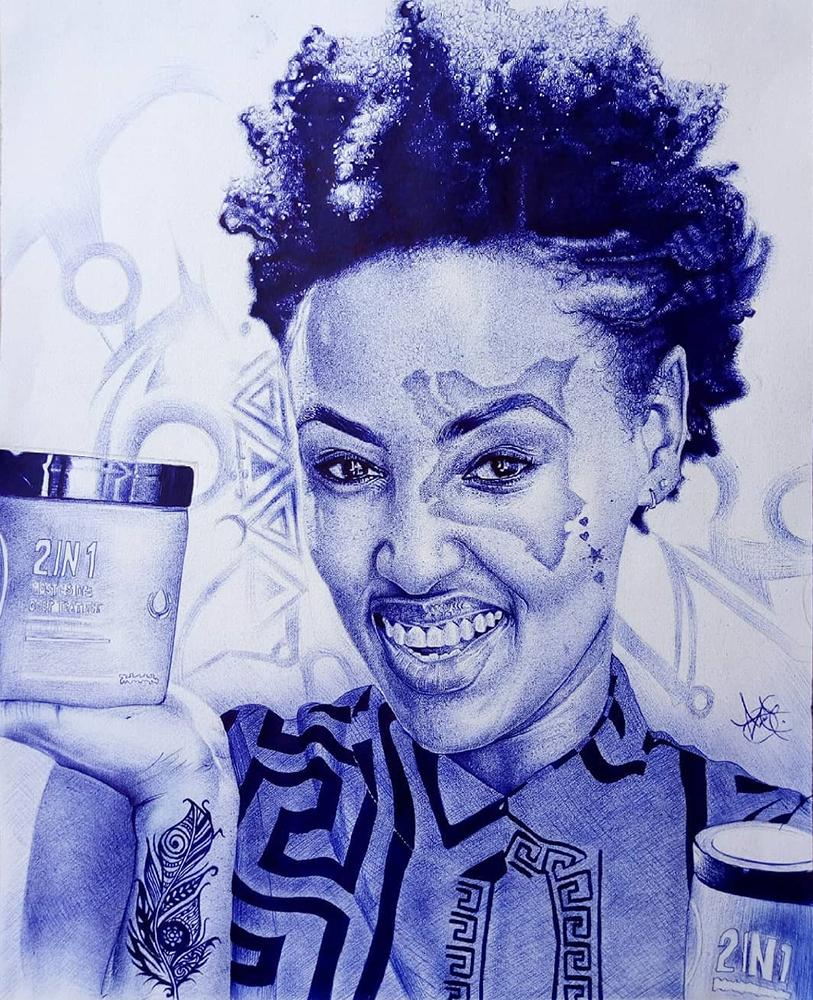 Michelle's Ntalami's artwork, ballpoint pen