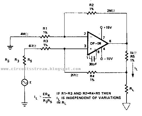 simple bilateral current source circuit diagram