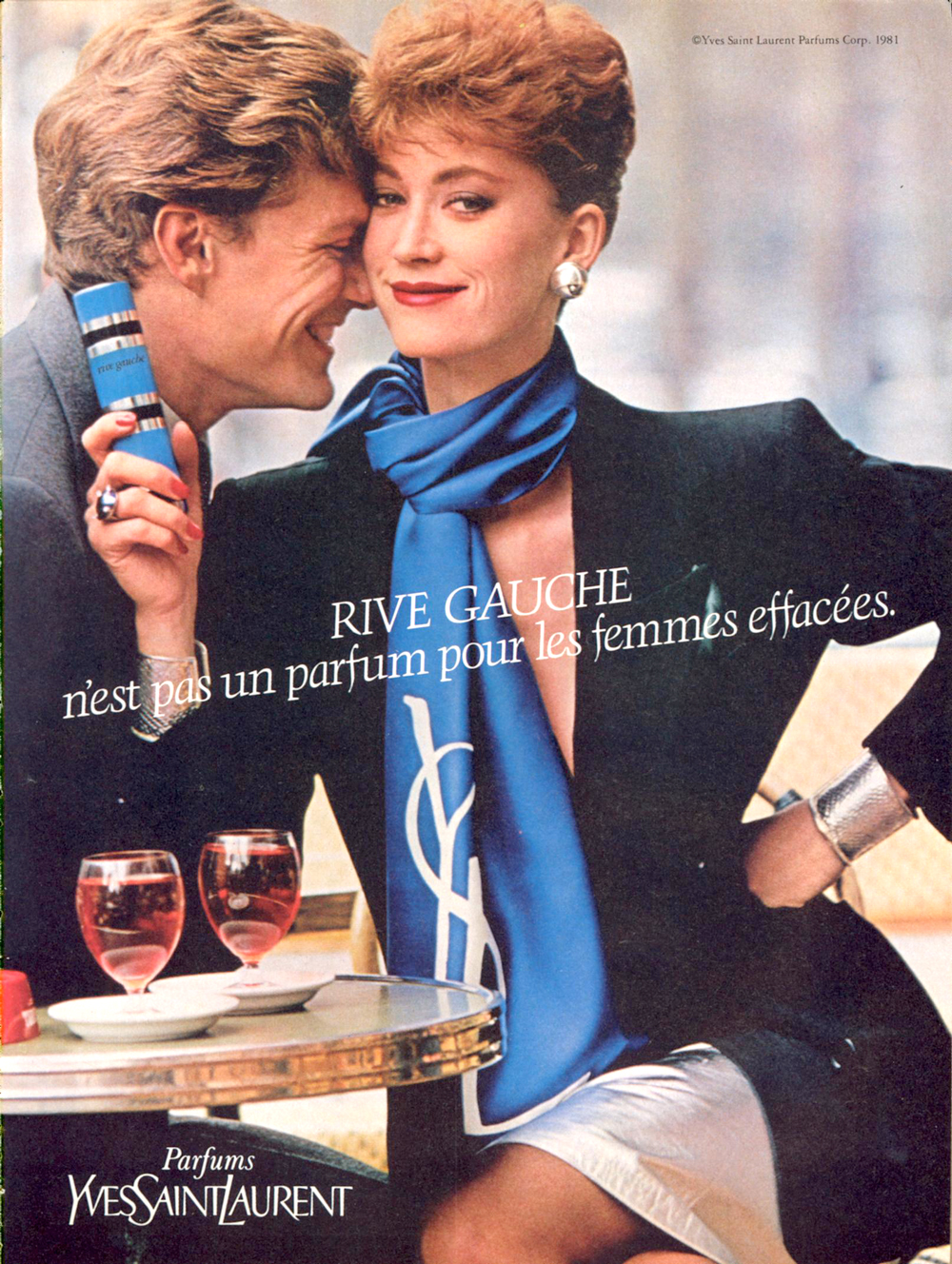 Yves Saint Laurent Rive Gauche perfume ad campaign in Vogue US December 1981 via www.fashionedbylove.co.uk