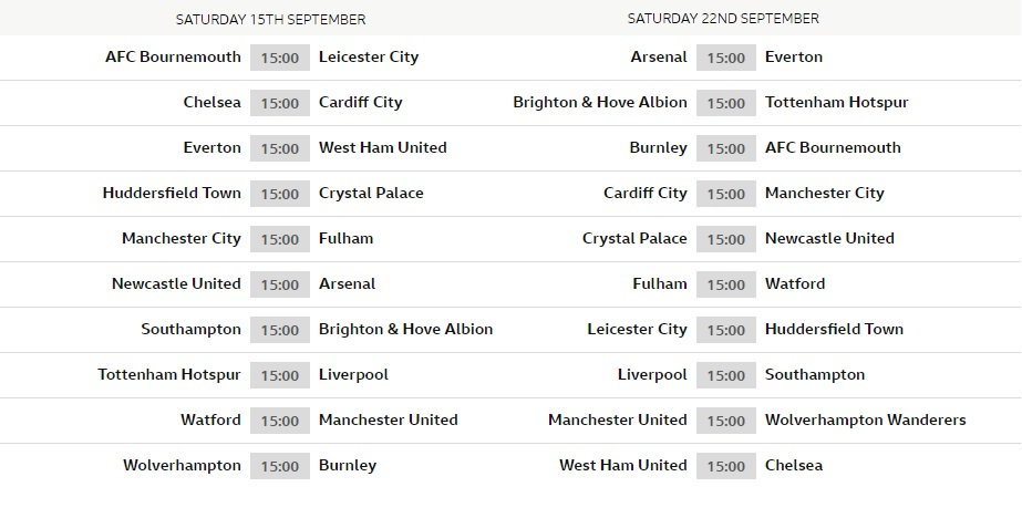 Premier League 2018-19 Fixtures (Released)